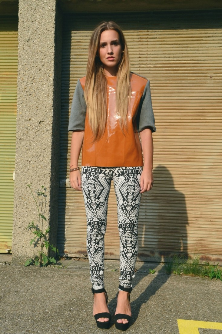 leather top and pattern pants